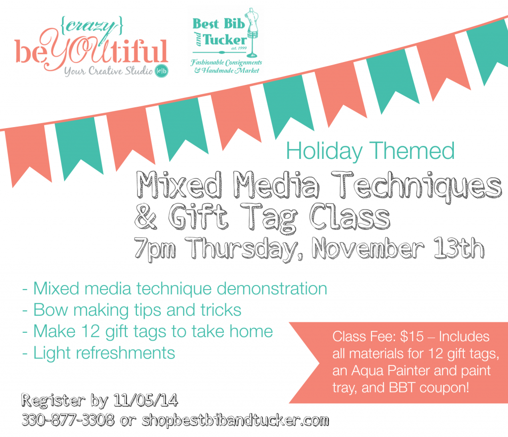 Mixed Media Gift Tag Class Nov 13th