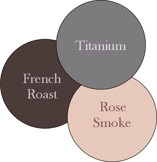 rose smoke rench roast and titanium color combination