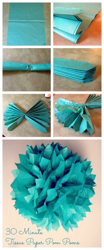 30 minute tissue paper pom poms tutorial collage