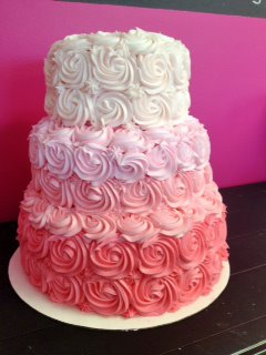babycakes pink ombre tiered cake