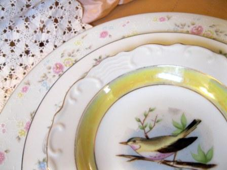 mismatched china wedding centerpiece a
