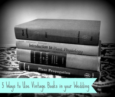vintage books wedding