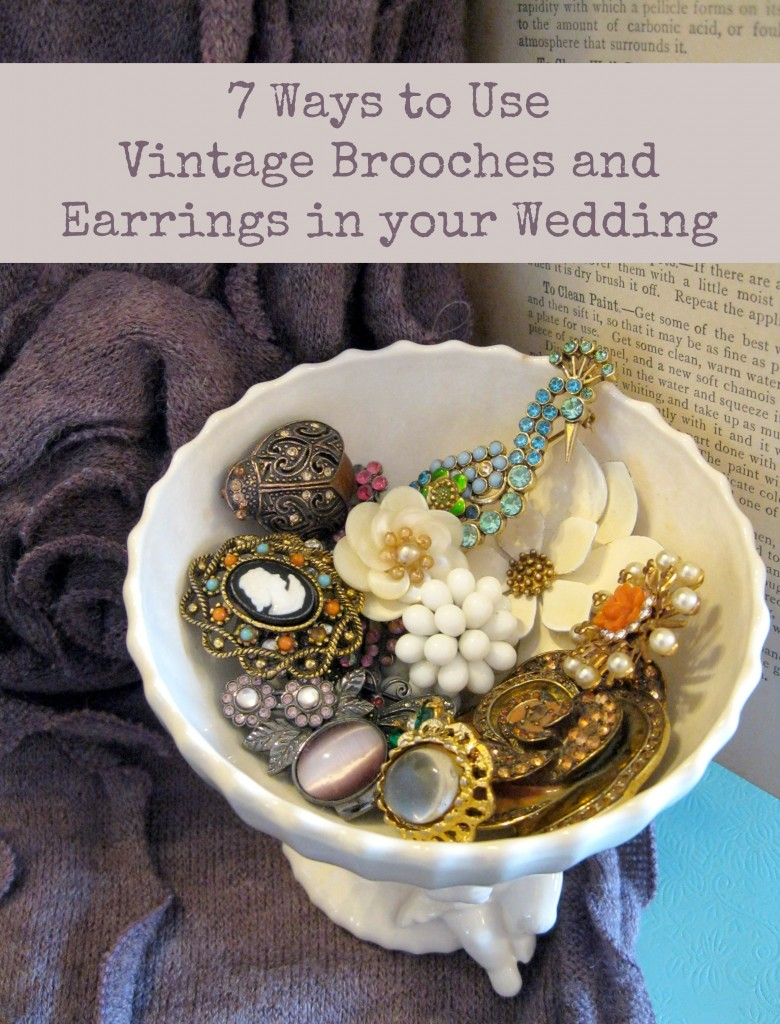 vintage brooches wedding decor