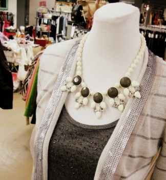 sparkly gray top and necklace