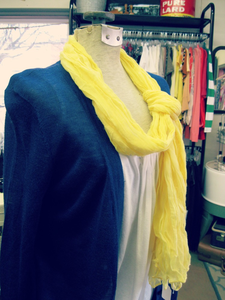 pastel scarf with jewel tone sweater