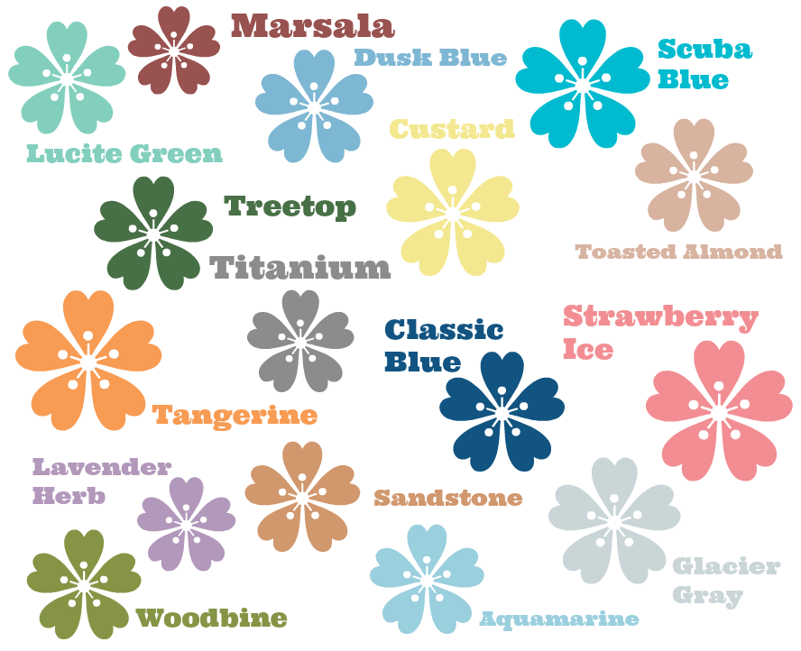 pantone spring 2015 colors flowers with names