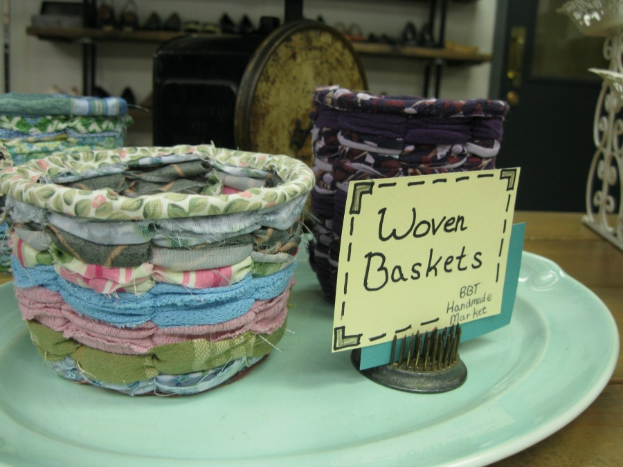 Woven Fabric Baskets at Best Bib and Tucker Handmade Market Hartville, Ohio