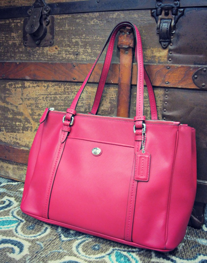 Coach Raspberry Leather Tote