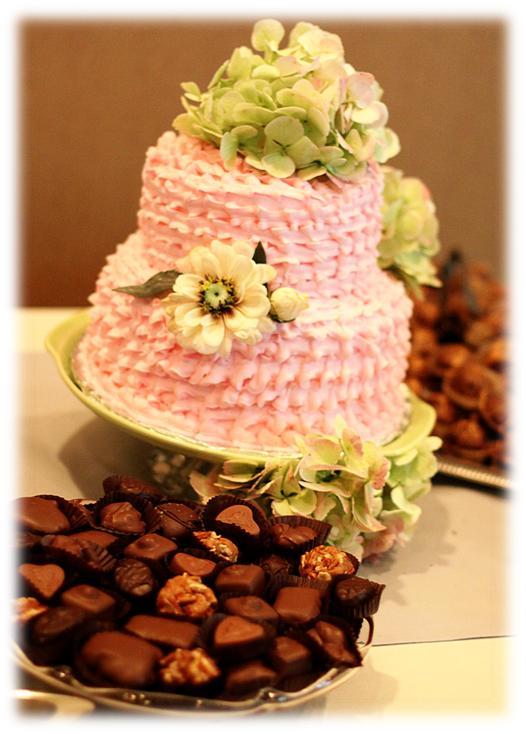 shabby chic pink ruffle wedding cake