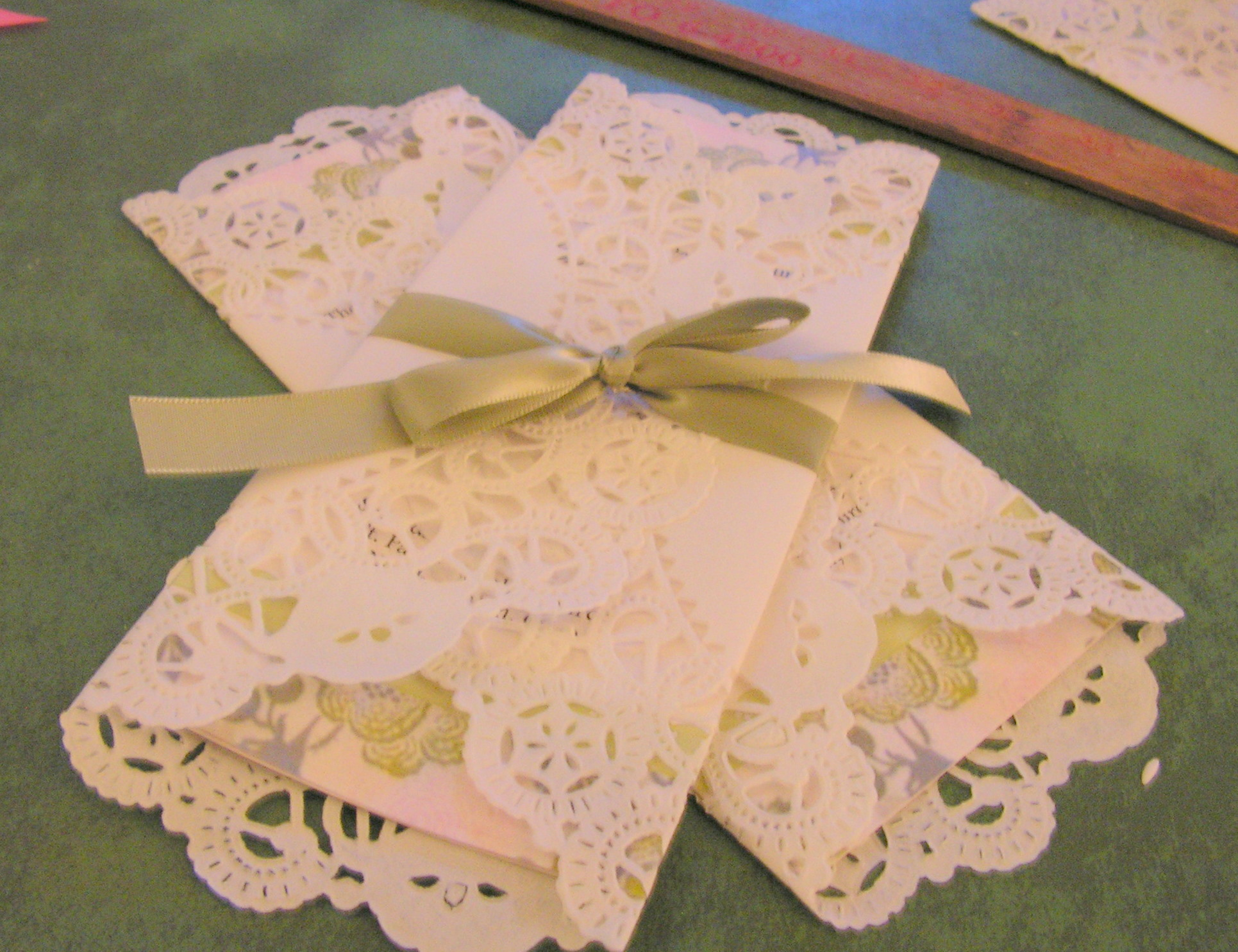 the wedding march  doily wrapped programs