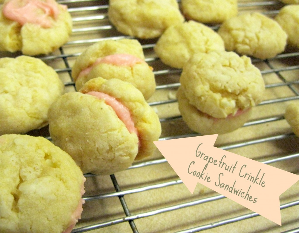grapefruit crinkle cookie sandwiches
