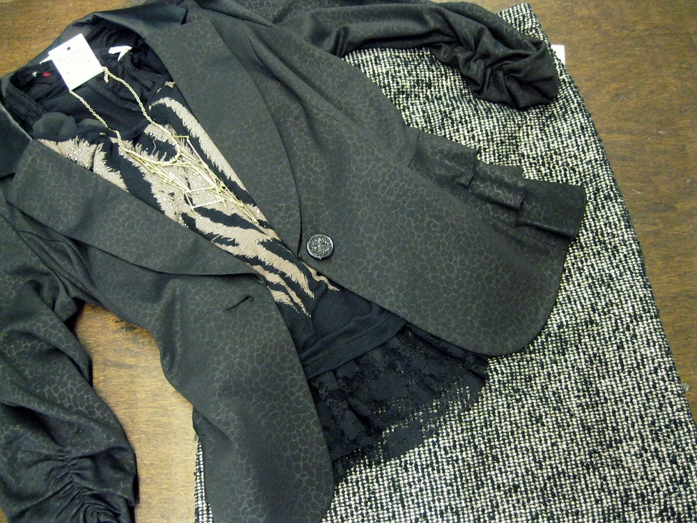 Cropped sweaters with skirts and jackets