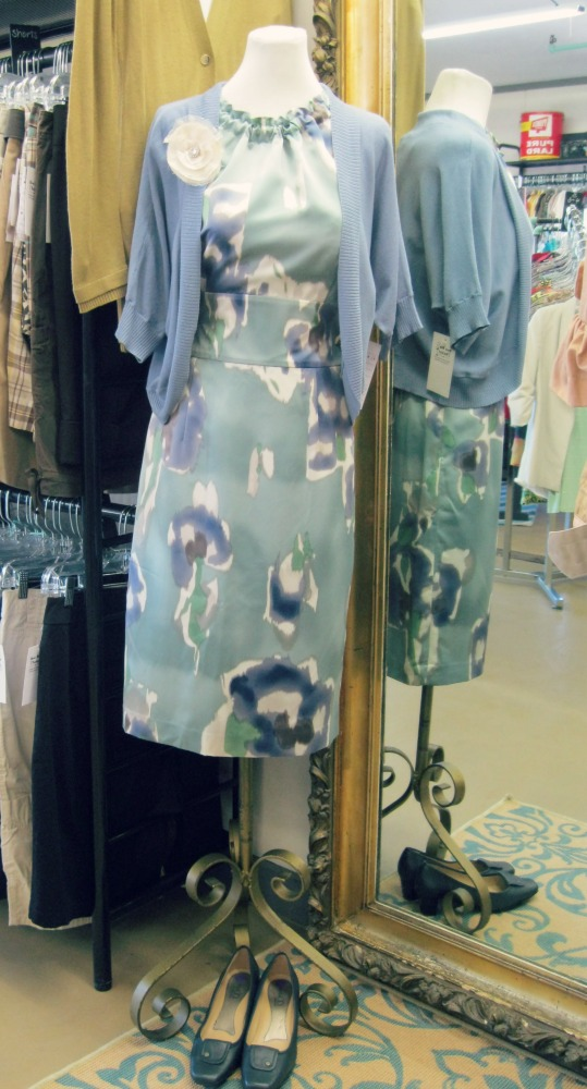 watercolor dress with shrug