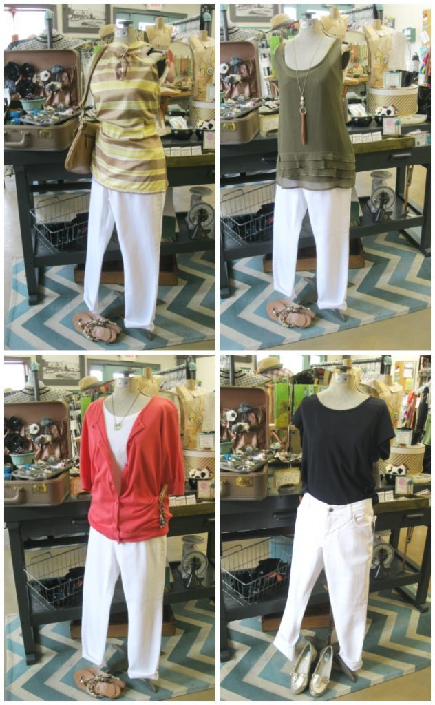 summer capsule wardrobe outfits with white capris