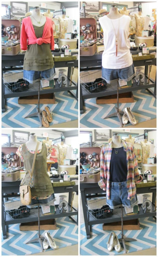 summer capsule wardrobe outfits with denim shorts